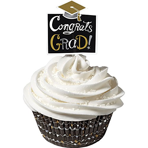 Graduation Cupcake Cups and Picks Combo Pack (Each) - Party Supplies