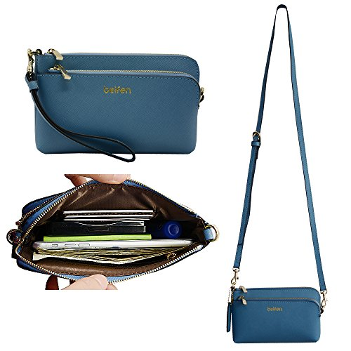 """Belfen Saffiano-Braccialetto da donna, in pelle a portafoglio, con chiusura a portafoglio con scomparti per carte di credito, cinghia a tracolla e cinghia da polso per cellulari, 6 x 8,1 x 0,76 (0,3"""") cm, colore: blu"""