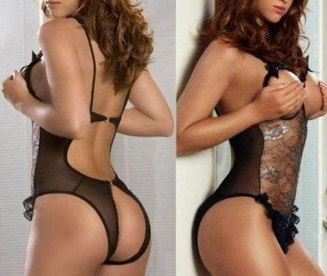 ReliBeauty LINGERIE LACE & MESH OPEN BUST BRA BACK TEDDY BLACK One Size