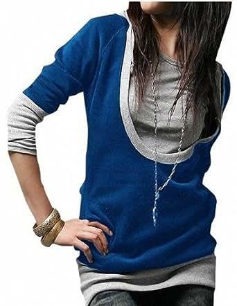 DJT Veste à capuche de pull de dames Hoody Sweat Jacket long manches Shirts Bleu-Small