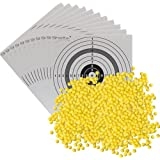 Set: UMAREX Softair BB 4000er Flachbeutel Kugelmunition 6 mm gelb 0,12 Gramm + je 2 ShoXx. Zielscheiben / Schießscheiben 10er Ring, 4er Ring, 5er Ringscheibe + 1 Zielscheibe Hirsch
