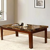 "Walnut Color Wood Coffee Table Imitation Marble Top 48x24"""