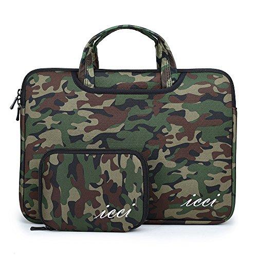 icci UltraBook 33-33.8 cm 13-13.3インチ pcケースバッグ ブリーフケース 付属品袋 (13.3, 迷彩グリーン)