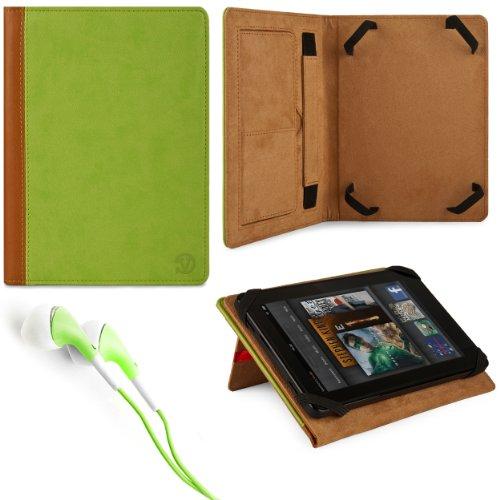Green & Brown Vg Faux Leather Standing Portfolio Case Cover For Zte V98 Windows 8 / Ainol Novo 10 Hero Ii / Ainol Novo Hero Quad / Idolian Studio 10 / Nextway F10X / Xelio P1001 / Linsay Star X-10Hd / Linsay Cosmos F-10Hd / Zeki Tbd1083B 10.1 Inch Tablets front-170306