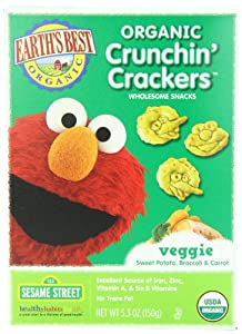 Earth's Best Organic Sesame Street Crunchin' Crackers, Veggie, 5.3 Ounce (Pack of 6)