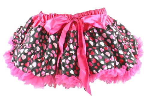 Girl'S Satin And Chiffon Pettiskirt Tutu Hot Pink Hearts On Black Infant 12-24 Months front-673051