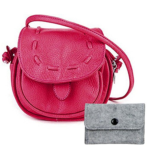 Hoxis Vintage Faux Leather Mini Shoulder Bags/New Fresh Candy Style Iphone Purse (Hot Pink)