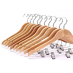 AADYA Solid Natural Finish Wooden Suit Hangers with Anti-rust Pant Clips, 24 Pack