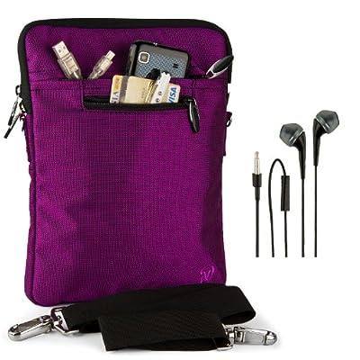 "VanGoddy Hydei Sleeve Modern Padded Bag Pack Cover w/ Shoulder Strap fits Amazon Kindle Fire HDX / HD 8.9"" Smart Prime Tablet PURPLE PLUM + Black Hands-free Earphones (Headphones with Microphone)"