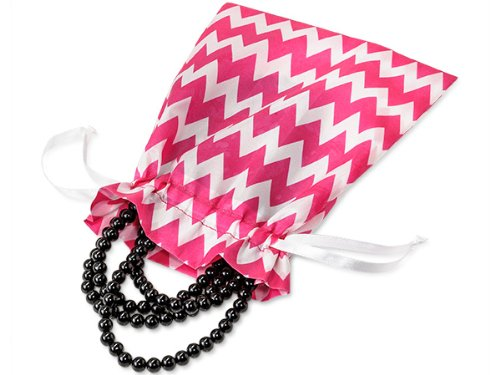 """One Medium Hot Bright Neon Pink Chevron 6X8"""" Satin Pouch Jewelry Gift Soap Toiletry Candy Bag Bags 100% Polyester Satin Drawstrings"""