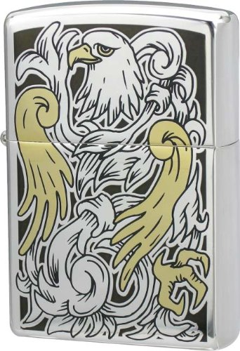 ZIPPO (Zippo) twin / Eagle double-sided etched Silver Mirror Finish TwinEagle SV