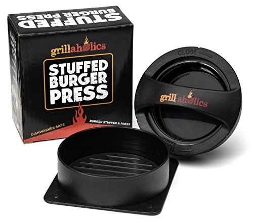 Big Save! Grillaholics Stuffed Burger Press and Recipe eBook - Hamburger Patty Maker for Grilling - ...