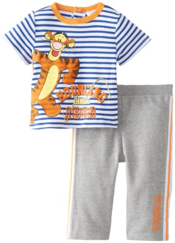 Disney Baby Baby-Boys Newborn Tigger 2 Piece French Terry Pant Set, Grey/Orange, 0-3 Months front-373958