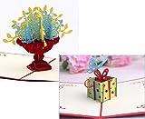 2枚セット 立体 ポップアップ カード お祝い グリーティングカード プレゼント 誕生日 結婚式 フラワー (花束 ギフト ボックス)