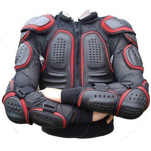 Men's Motorbike Motorcycle Protective Body Armour Armor Jacket Guard Bike Bicycle Riding Biker with Red Lines (Small)