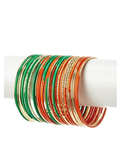 Helene Orange and Green Contrast Bangles