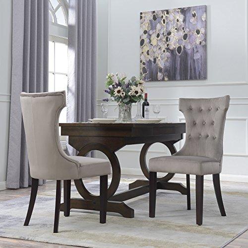 Belleze Set of 2, Elegant Tufted Upholestered Dining Chair, Taupe