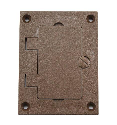 Walker 828PRGFI-BRN Brown GFI Polycarbonate Floor Box Receptacle Cover Plate, Flip Lid 1 Gang