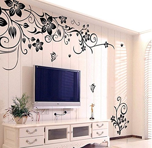LANDFOX Hee Grand Removable Vinyl Wall Sticker Mural Decal Art Flowers and Vine Wall Stickers