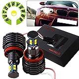 AUTOSAVER88 2x 80W H8 Angel Eyes 360-Degree Halo Ring Light White High Power Bulbs for BMW E90 E92 E93 X5