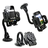 DN-TECHNOLOGY® Windscreen in Car Mount Holder/ Dashboard Holder With 3 Piece 360 Degree Rotating Soft Hold Grip Holder For Sony Ericsson Xperia Mini Pro, xperia play, xperia neo xperia arc xperia x8, x10 mini pro, Spiro, Yendo Aspen, Cedar, Hazel Lg opti