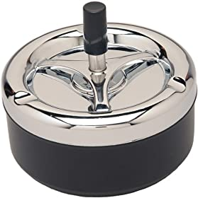 Round Push Down Ashtray with Spinning Tray Black -A32