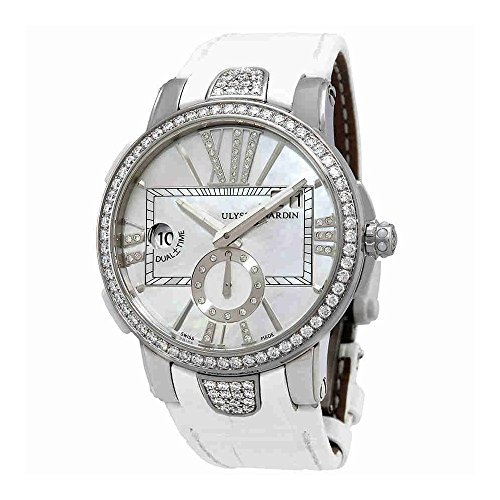 Ulysse Nardin Executive Dual Time Lady 40mm Mother of Pearl Diamonds Watch 243-10B/391