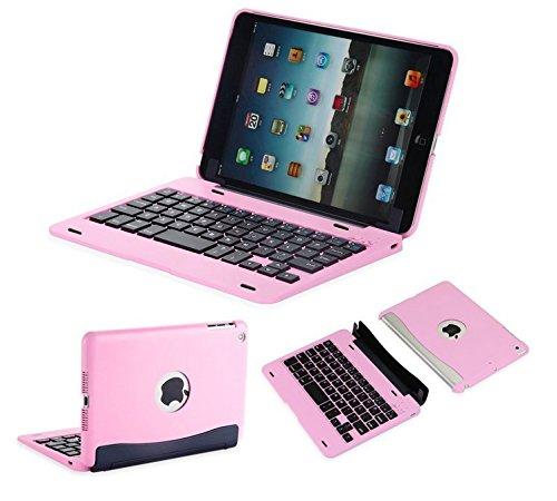 efluky ipad mini専用Bluetoothキーボード 分離式 ワイアレスケース オートスリープ機能付ipad mini 1/2/3対応(ピンク)