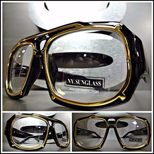 mens-women-classic-vintage-aviator-style-clear-lens-eye-glasses-black-gold-frame