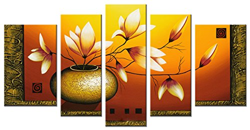 Wieco Art-Large Size Modern Canvas Wall Art Stretched and Framed Hand-painted Golden Bottle Elegent Flowers Home Decoration Floral Oil Paintings on Canvas 5pcs/set III