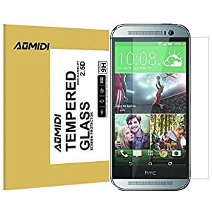 HTC ONE M8 Screen Protector, AOMIDI Tempered Glass Screen Protector for HTC M8, 0.3MM Thickness, 2.5D Round Edge, High Definition, 9H Hardness (CLEAR, 1 Pack)
