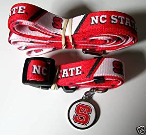 North Carolina NC State University Wolfpack Dog Pet Set Leash Collar ID Tag XS by Hunter