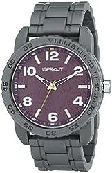 Sprout Men's ST/7007PRGY Purple Tree Bark Dial Grey Corn Resin Bracelet Watch