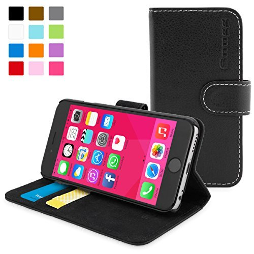 英国Snugg製 iPhone6用 PUレザー手帳型ケース 生涯補償付き(ブラック)
