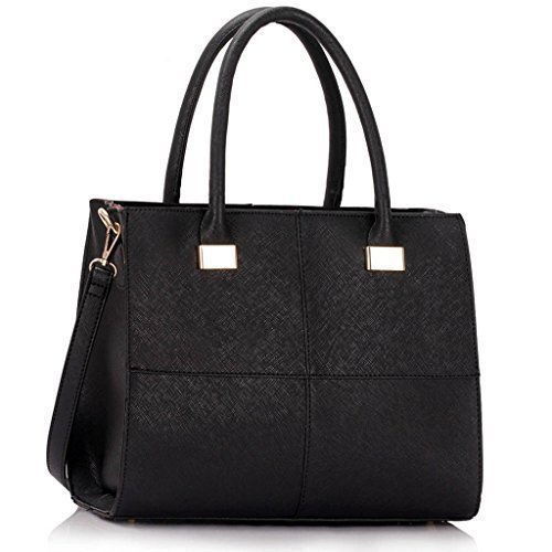 Womens Check Print Designer Faux Leather Celebrity Style Tote Handbag