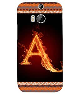 Fuson 3D Printed Alphabet A Designer back case cover for HTC One M8 - D4189