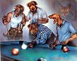 Dogs Playing Pool Dan McManis Funny Animal Wall Decor Art Print Poster (8x10)