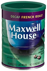 Maxwell House Decaf French Roast (Medium Dark) Ground Coffee, 11-Ounce Cans (Pack of 4)