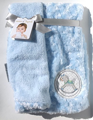 Blankets & Beyond Soft Blue Rosette Rocking Horse Baby Blanket