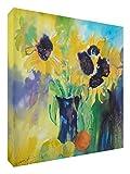 Feel Good Art Lienzo con los colores vivos dentro del artista Val Johnson Dandelions y frutas, 38 x 38 x 4 cm, mediano