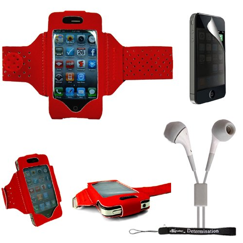 Extreme Sports Exercise Stretchy Red Armband With 8 Secure Adjustable Sizes From 11 Inches Up To 19 For Apple Iphone 4 , 4Th Generation, 4Th Gen Compatible With 16Gb / 32Gb - Hd Print + Includes A Ebigvalue (Tm) Determination Hand Strap + Includes A Priva