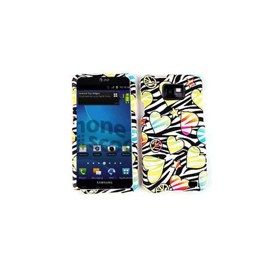 For Samsung Galaxy S II i777 Case Cover   Hearts Stars Peace Black Zebra Rubberized Yellow Blue Pink TE429