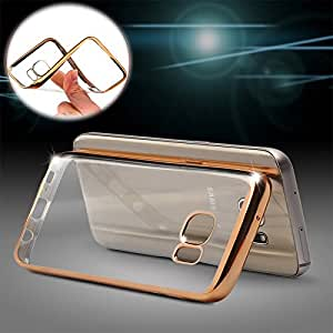 M.G.R Transparent Silicon Electroplated Edges TPU Back Case Cover for OnePlus 2 - (Transparent/Gold Border)