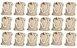"""Kangaroo's 12"""", Natural Color Large 100% Cotton Canvas Tote Bags (18 Pack)"""