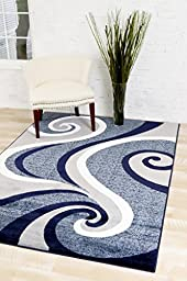0327 Blue White Gray 5\'2x7\'2 Area Rug Abstract Carpet