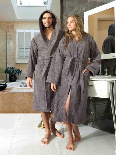 Frottee Kimono Bademantel Damen Herren Farbe Anthrazit Größe S