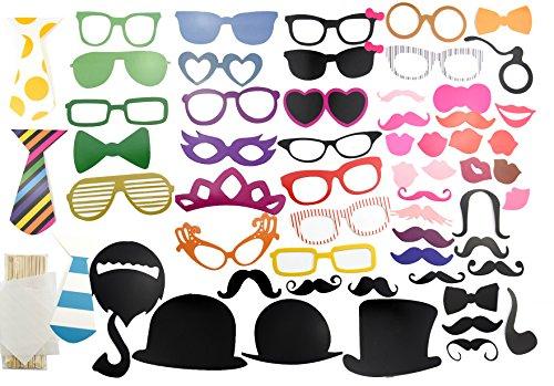 FiveSeasonStuff 58Pcs Colorée et Expressive Accessoires pour Photobooth avec Bâton Déguisement Masque Moustache Lunettes Chapeaux Lèvre Lunettes