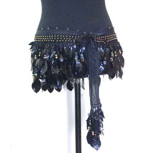 Belly Dance Silk Chiffon Shiny Leaf Hip Scarf Belt Wrap -- Black & Gold