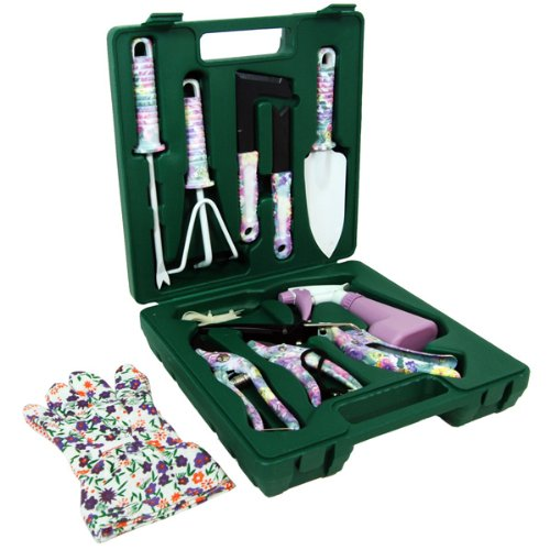 CLOSEOUT Pink Floral Garden Tool Set in Carry Box