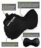 Comfy Travel Buddy Travel Air Pillow for Car, Airplane, Bus, Train, Home Use and Office Use, Black - Best Neck and Lumbar Support - Includes a Pack Sack and a Free Premium Quality Eye Mask Kit Plus 2 Sets of Ear Plugs.